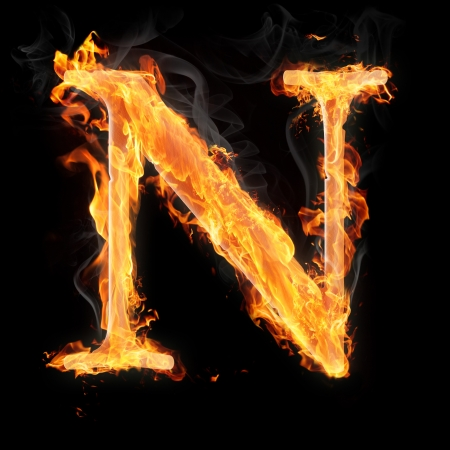 Letters and symbols in fire - Letter N.
