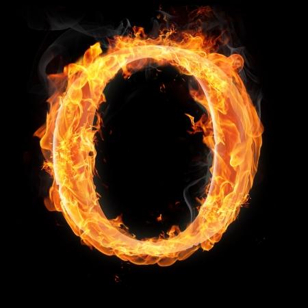 文字および記号の火災で - 手紙 o.