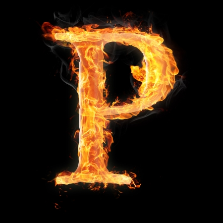 flame letters: Letters and symbols in fire - Letter P. Stock Photo