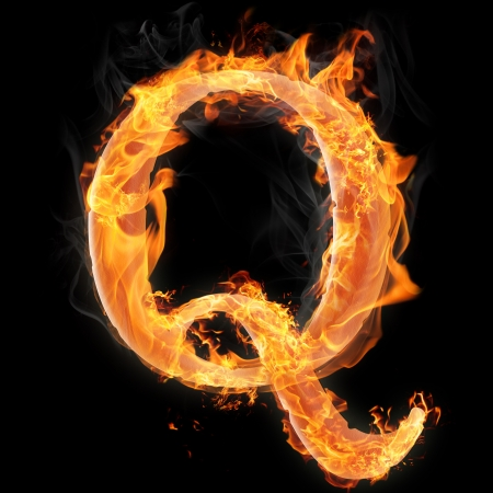 Letters and symbols in fire - Letter Q.