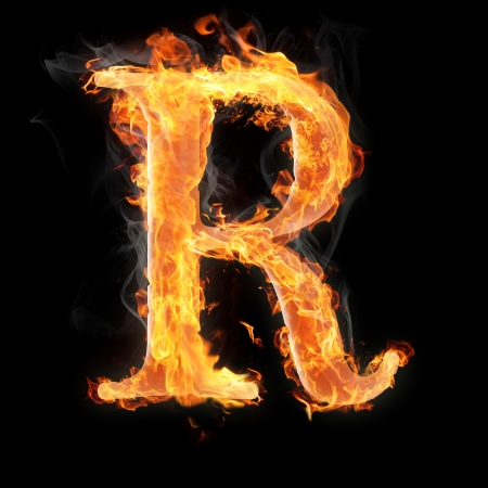 fiery font: Letters and symbols in fire - Letter R.