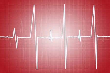 analise: Electrocardiogram - illustration of human heart activity on red background
