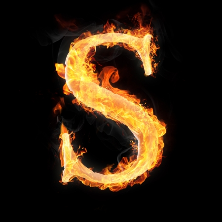 decorative letter: Letters and symbols in fire - Letter S. Stock Photo
