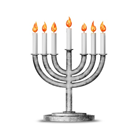 hanukah: Hanukkah candles all candle lite on the traditional Hanukkah menorah
