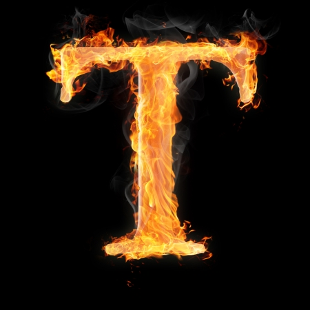 letter t: Letters and symbols in fire - Letter T.