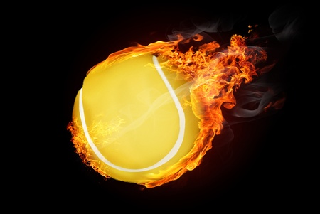 Tennis ball on fire flying down - illustration