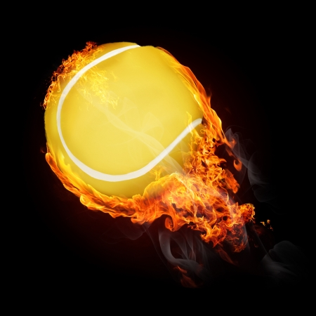 tongues of fire: Tennis ball on fire flying up - illustration