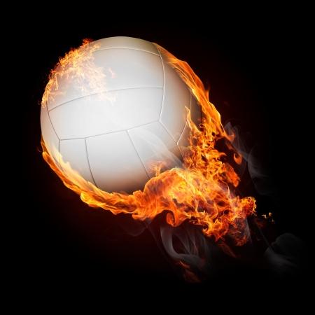 Bola de voleibol de fuego volando - ilustración