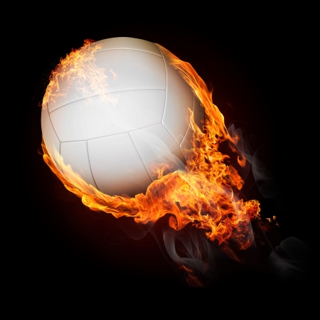 Volleyball ball on fire flying up - illustration Фото со стока