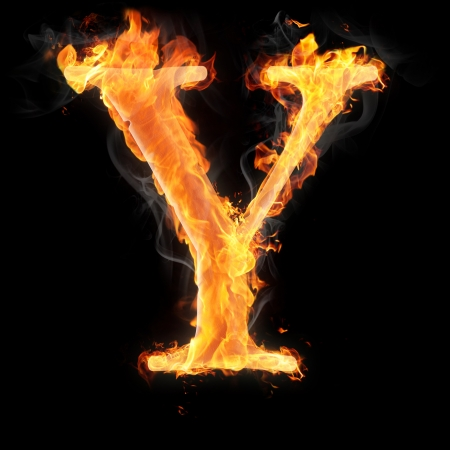 Letters and symbols in fire - Letter Y. Standard-Bild