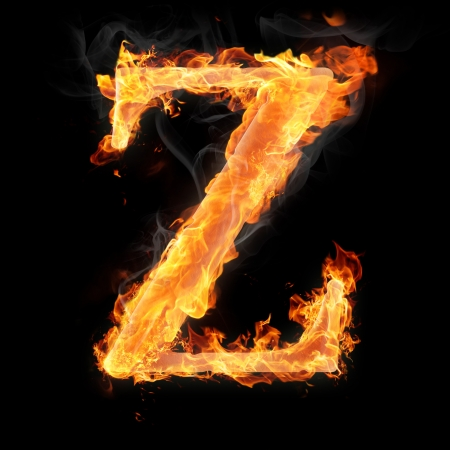Letters and symbols in fire - Letter Z. Stock Photo