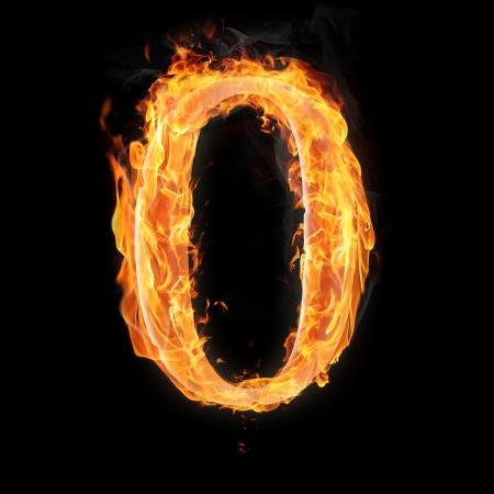 arithmetical: Burning numbers on black background - zero