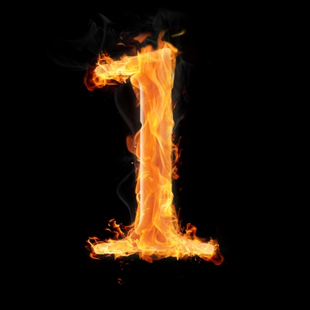 arithmetical: Burning numbers on black background - number one Stock Photo
