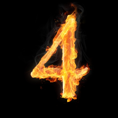 arithmetical: Burning numbers on black background - number four Stock Photo