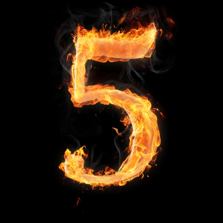arithmetical: Burning numbers on black background - number five