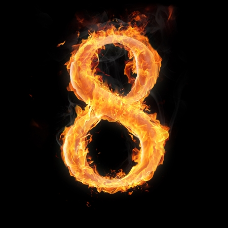 arithmetical: Burning numbers on black background - number eight