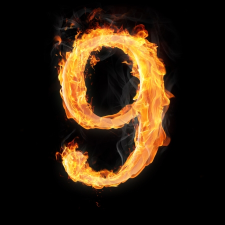 arithmetical: Burning numbers on black background - number nine