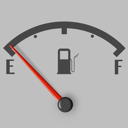 Low fuel sign with red indicator isolated on grey background photo