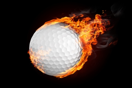 Golf ball on fire flying down - illustration