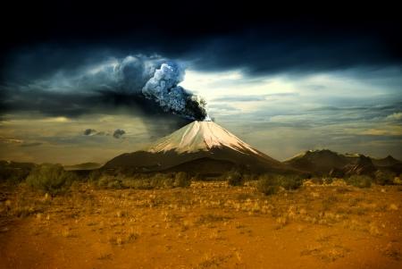 tectonic: Erupting volcano - illustration