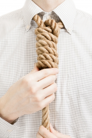 gallow: Businessman with gallow rope over his neck