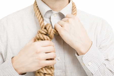 gallow: Businessman wearing gallow rope over his neck Stock Photo