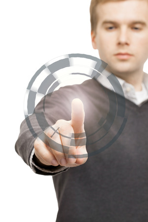 manipulating: Male manipulating digital data with his finger Stock Photo
