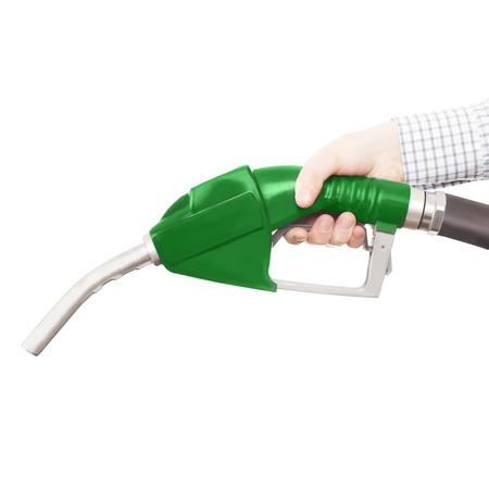 petrochemistry: Pistola de color verde de la bomba de combustible aislados en blanco