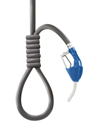 gallow: Blue color gun from the fuel pump with looped hose shaped as gallows isolated on white Stock Photo