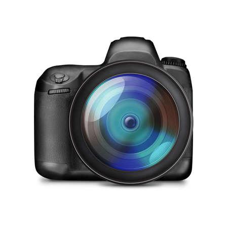 Professional black DSLR photo camera isolated on white - illustration