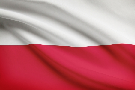 Polish flag blowing in the wind. Part of a series. photo
