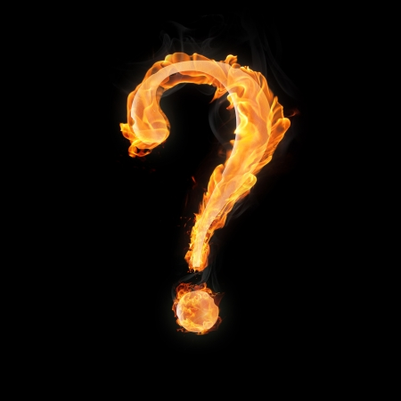 interrogation: Question mark in fire on black