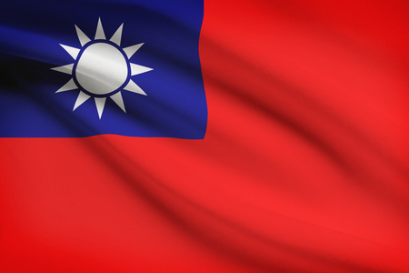 taiwanese: Taiwanese flag blowing in the wind. Part of a series.