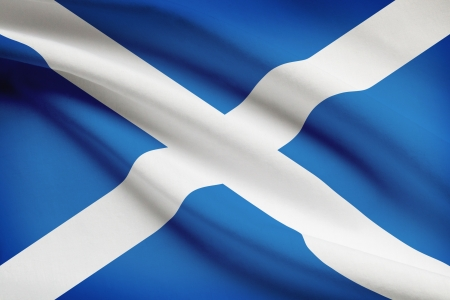 scottish parliament: Scottish flag blowing in the wind. Part of a series.