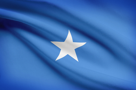 somalian: Somalian flag blowing in the wind. Part of a series.