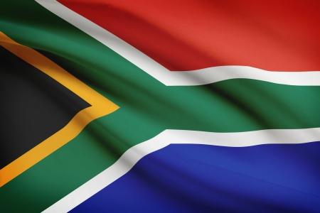 南アフリカの国旗が風で吹きます。シリーズの一部です。