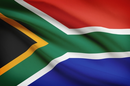 south african flag: South African flag blowing in the wind. Part of a series.