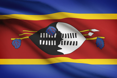 unitary: Swazi flag blowing in the wind. Part of a series. Stock Photo