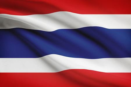 thai silk: Thai flag blowing in the wind. Part of a series.
