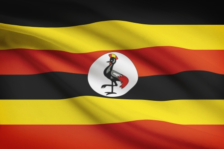 ugandan: Ugandan flag blowing in the wind. Part of a series. Stock Photo