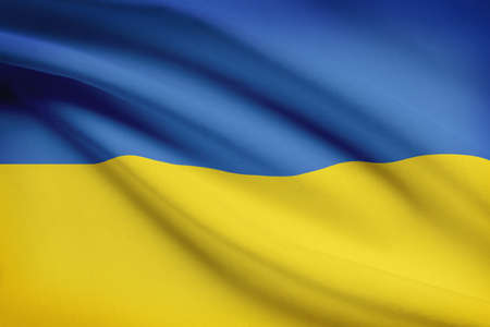 rada: Ukrainian flag blowing in the wind. Part of a series.