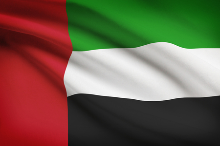 monarchy: Emirati flag blowing in the wind. Part of a series.