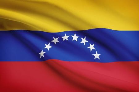 venezuelan: Venezuelan flag blowing in the wind. Part of a series. Stock Photo