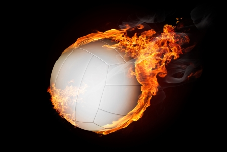 tongues of fire: Volleyball ball on fire flying down - illustration Stock Photo