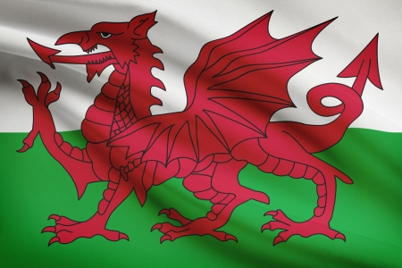 welsh flag: Welsh flag blowing in the wind. Part of a series. Stock Photo