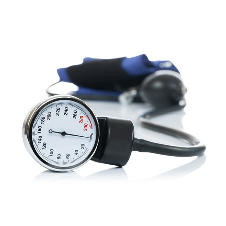 Blood pressure meter medical equipment isolated on white photo