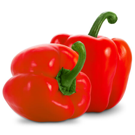 Two red peppers isolated on white background photo