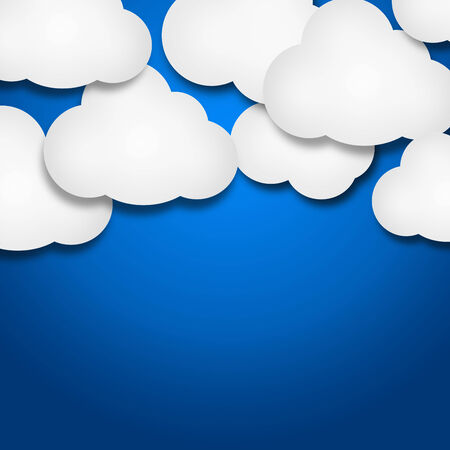 Illustration of white paper clouds over blue background illustration