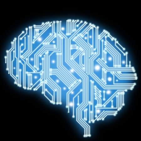 Abstract human brain in form of circuit board on black background