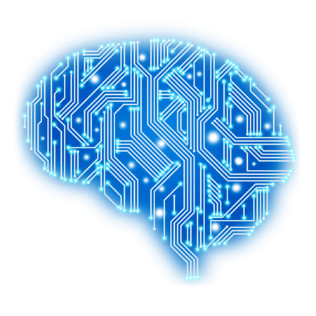 Het concept van het denken. Abstracte menselijke hersenen in de vorm van de printplaat op een witte achtergrond. Stockfoto